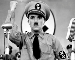 Charlie Chaplin in the Great Dictator, where he mocks Hitler. Full circle?